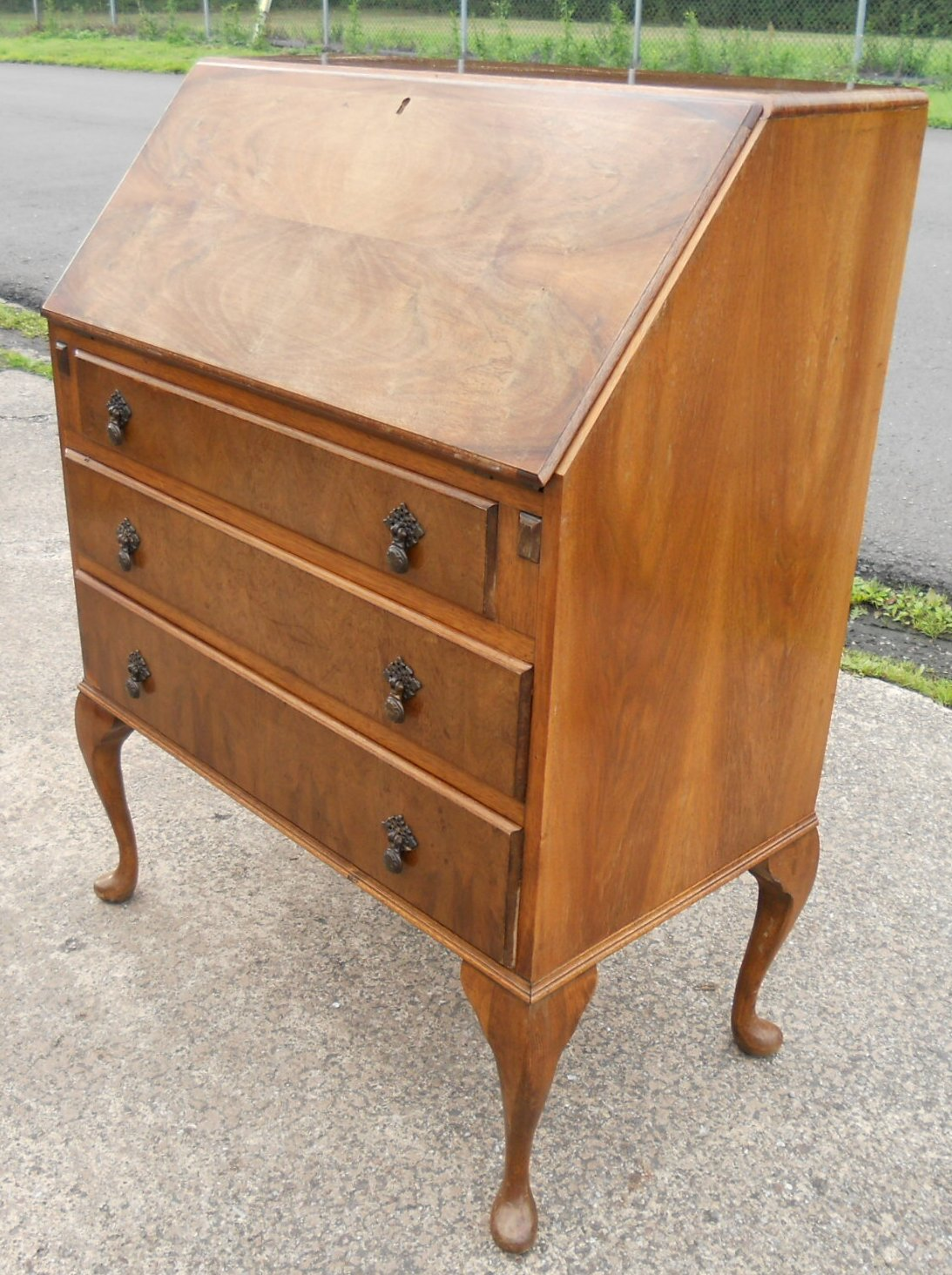 Walnut Writing Bureau In The Queen Anne Style